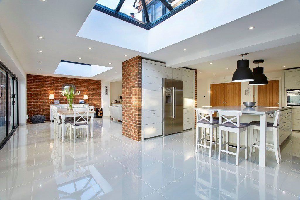 white modern kitchen extension