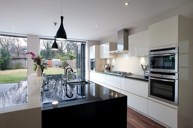 black and white kitchen extension